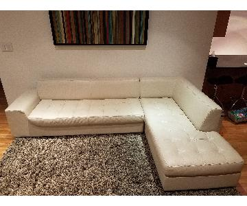 Jensen-Lewis 2 Piece Beige Leather Sectional Couch
