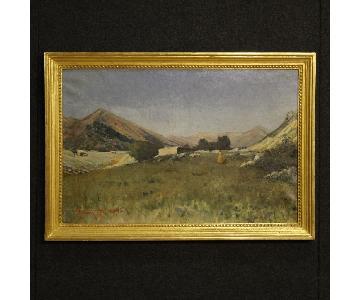 19th Century Italian Painting Landscape w/ Hunter