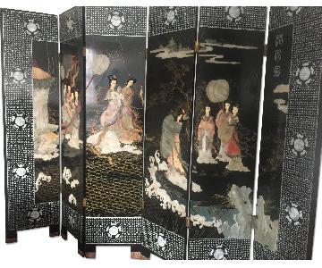 6-Panel Ebony Room Divider w/ Abalone & Stone Inlay