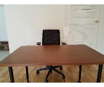 Wood Office Desk & Chair
