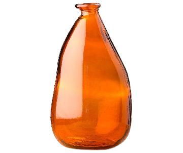 VivaTerra Oblong Amber Recycled Glass Balloon Vase