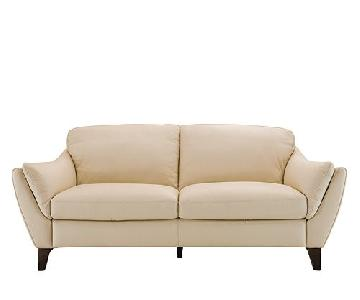 Raymour & Flanigan Ivory Leather Sofa