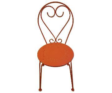 LexMod Orange Metal Cafe Chair