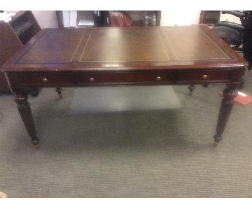 Regency Style Wood Partners Desk w/ Leather Inset