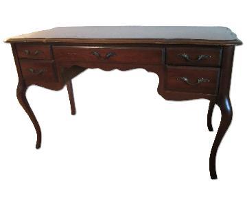 Vintage Wood Desk w/ Cross Hatch Pattern