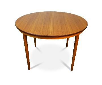 Danish Mid Century Modern Expandable Round Teak Table