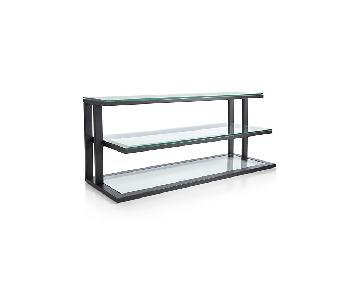 Crate & Barrel Pilsen Graphite & Glass Media Console