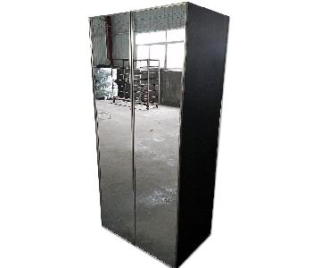 Dark Walnut Wood & Stainless Steel Mirrored Armoire