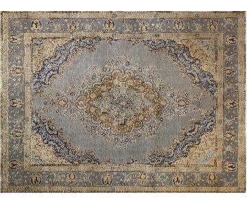 Ricardo Lt. Hand Painted Color Reform Blue/Gray Wool Rug