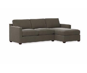 Crate & Barrel Grey 2 Piece Sectional Sofa