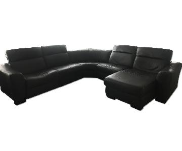 Macy's Dark Brown 5 Piece Leather Sectional Sofa