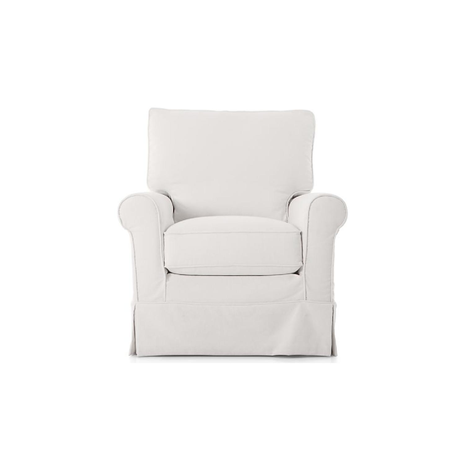 Crate & Barrel Harborside Slipcovered Swivel Glider AptDeco