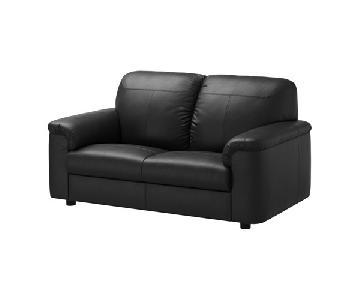 Ikea Timsfors Black Leather Loveseat