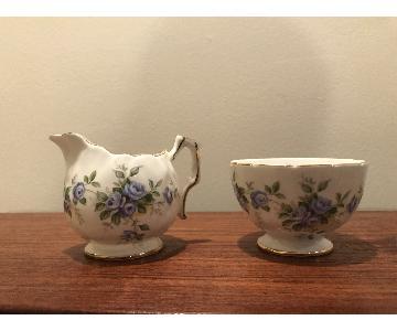 Aynsley Porcelain Marine Rose Open Sugar Bowl & Creamer