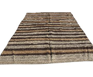 Turkish Striped Hand Woven Kilim Rug
