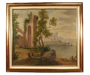 Italian Painting Seascape w/ Ruins & Characters