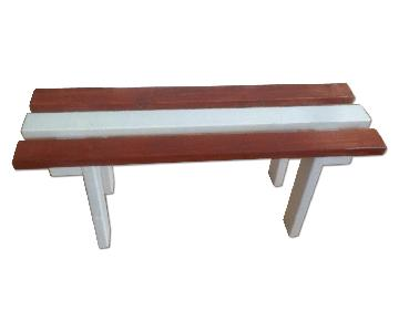 Austrian-flag themed Wood Bench