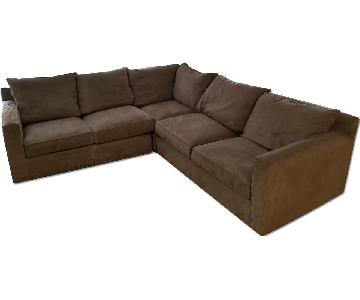 Room & Board Microsuede 2 Piece Sectional Sofa