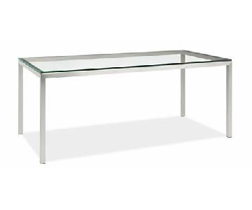 Room & Board Glass Top Stainless Steel Table