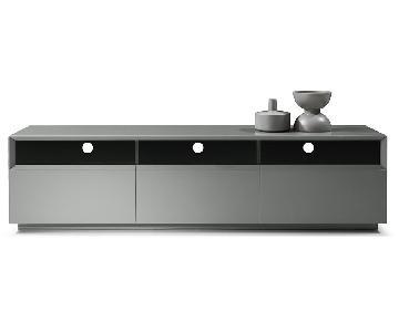 J&M Furniture Grey Lacquer TV Console