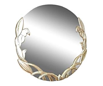 Round Modern Parrot Silver Gilt Wood Wall Mirror