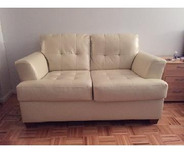 eFurnitureNY Light Lemon Yellow Loveseat
