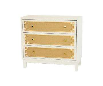 Pulaski Accent Chest in White/Gold Perivolas