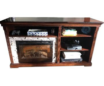 Ashley Dimplex Wooden Media Stand w/ Electric Fireplace