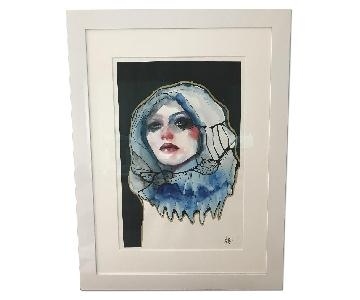 Custom Framed Anna Matykiewicz Water Color Painting