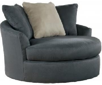 Ashley Mindy Indigo Oversized Swivel Chair