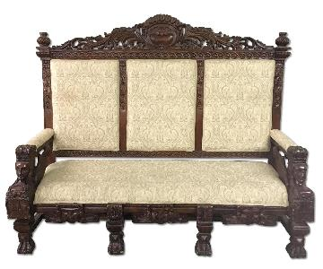 Vintage 1930s Carved Imperial Style Sofa