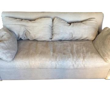 Restoration Hardware Grey Linen Loveseat