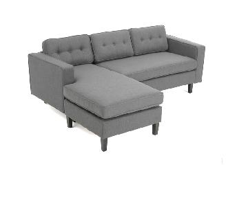 Christopher Knight Home Light Grey Chaise Sectional Sofa