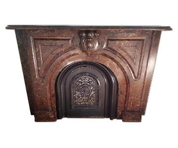 Antique Red Levanto Marble Fireplace
