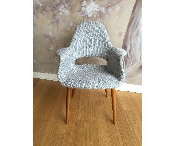 Mid Century Modern Upholstered Fabric Armchiar