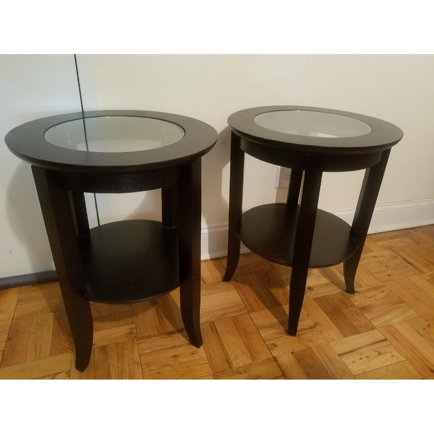Wood End Table W/ Glass Center ...