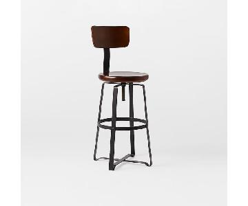 West Elm Adjustable Rustic Counter Stool w/ Grey Legs