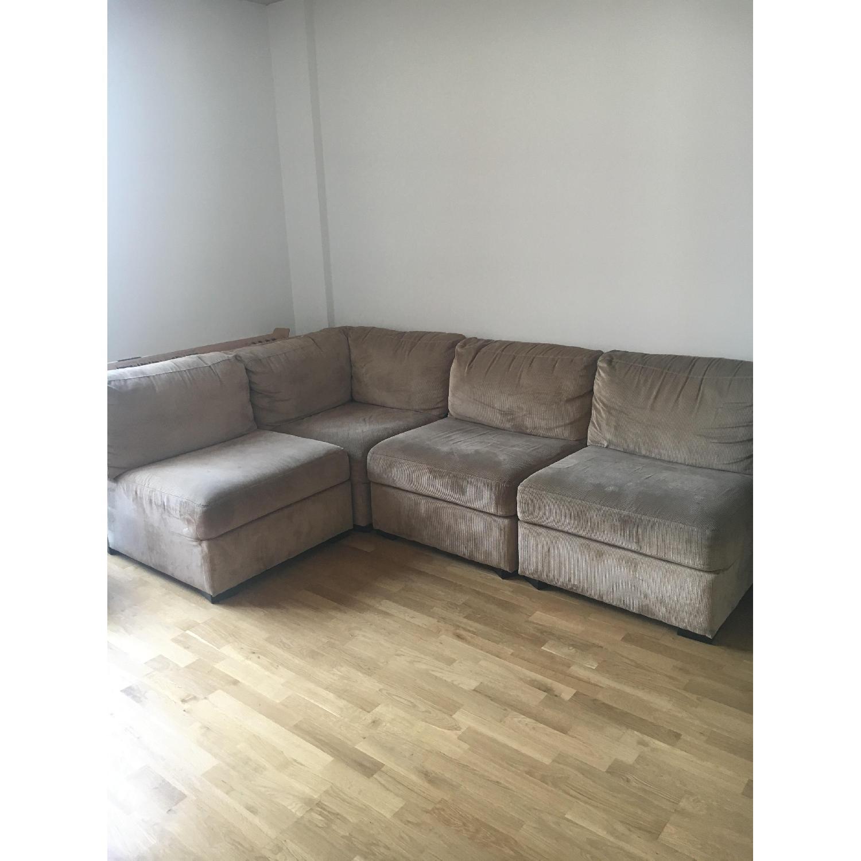 Beige 3 Piece Corner Sectional Sofa AptDeco