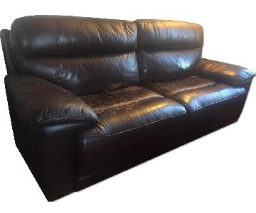 Raymour & Flanigan Merlot Brown Leather Reclining Sofa