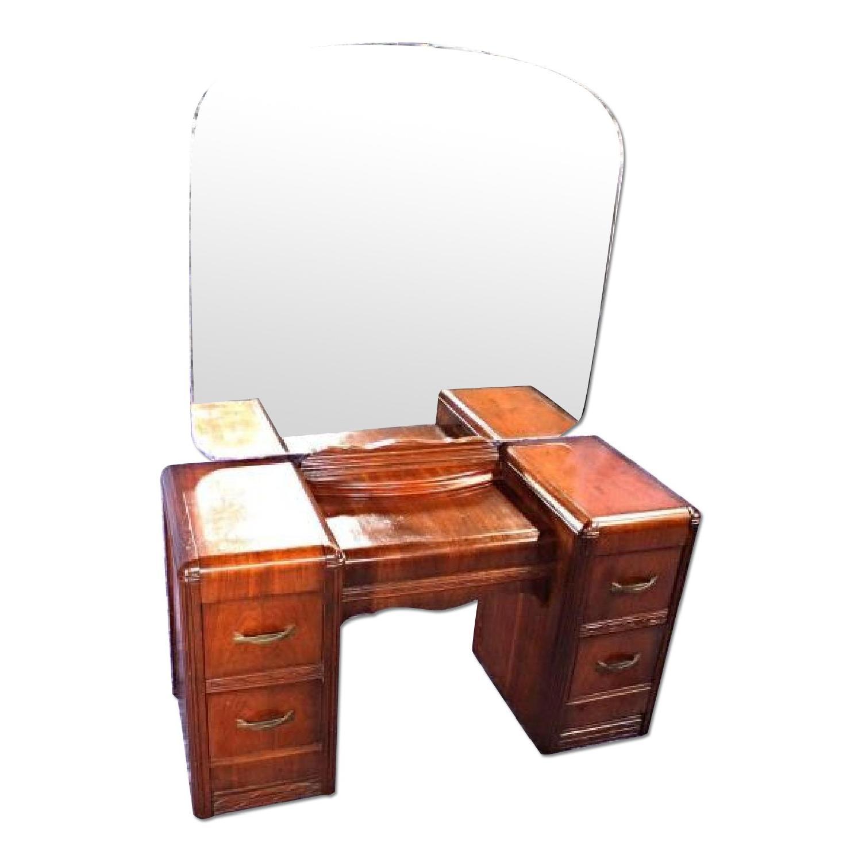 1930's Antique Art Deco Vanity Dresser w/ Mirror