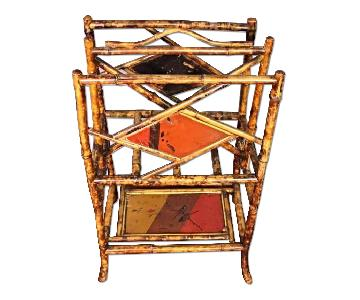 Antique Asian Hand Painted Bamboo Magazine/Rack Holder