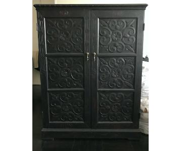 Horchow Carved Dark Ebony Wood Cabinet
