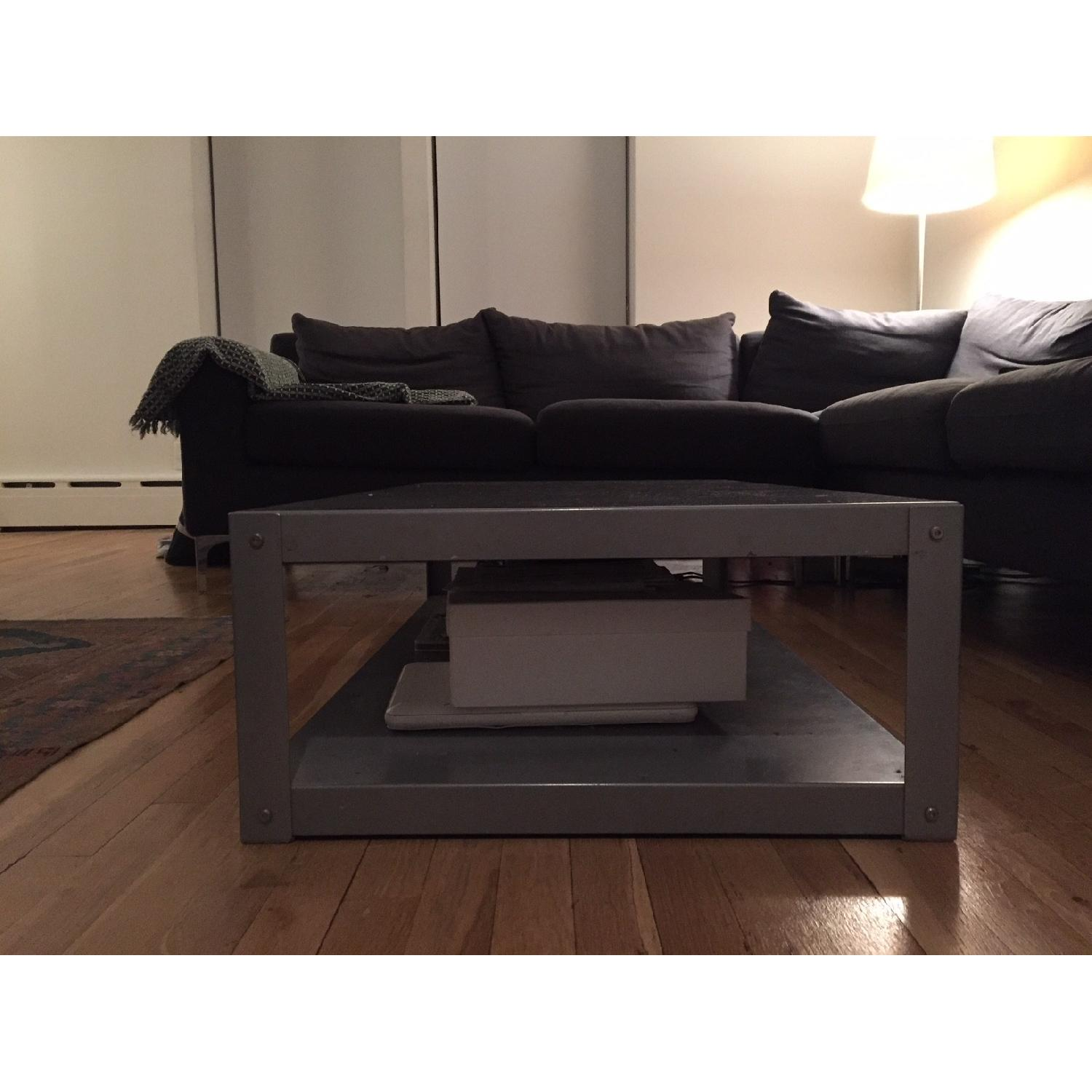 CB2 Go Cart Carbon Rolling Coffee Table TV Stand AptDeco