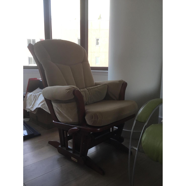 Dutailier Tan Nursing Chair & Ottoman AptDeco