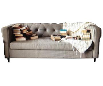 West Elm Chester Tufted Grey Leather Sofa