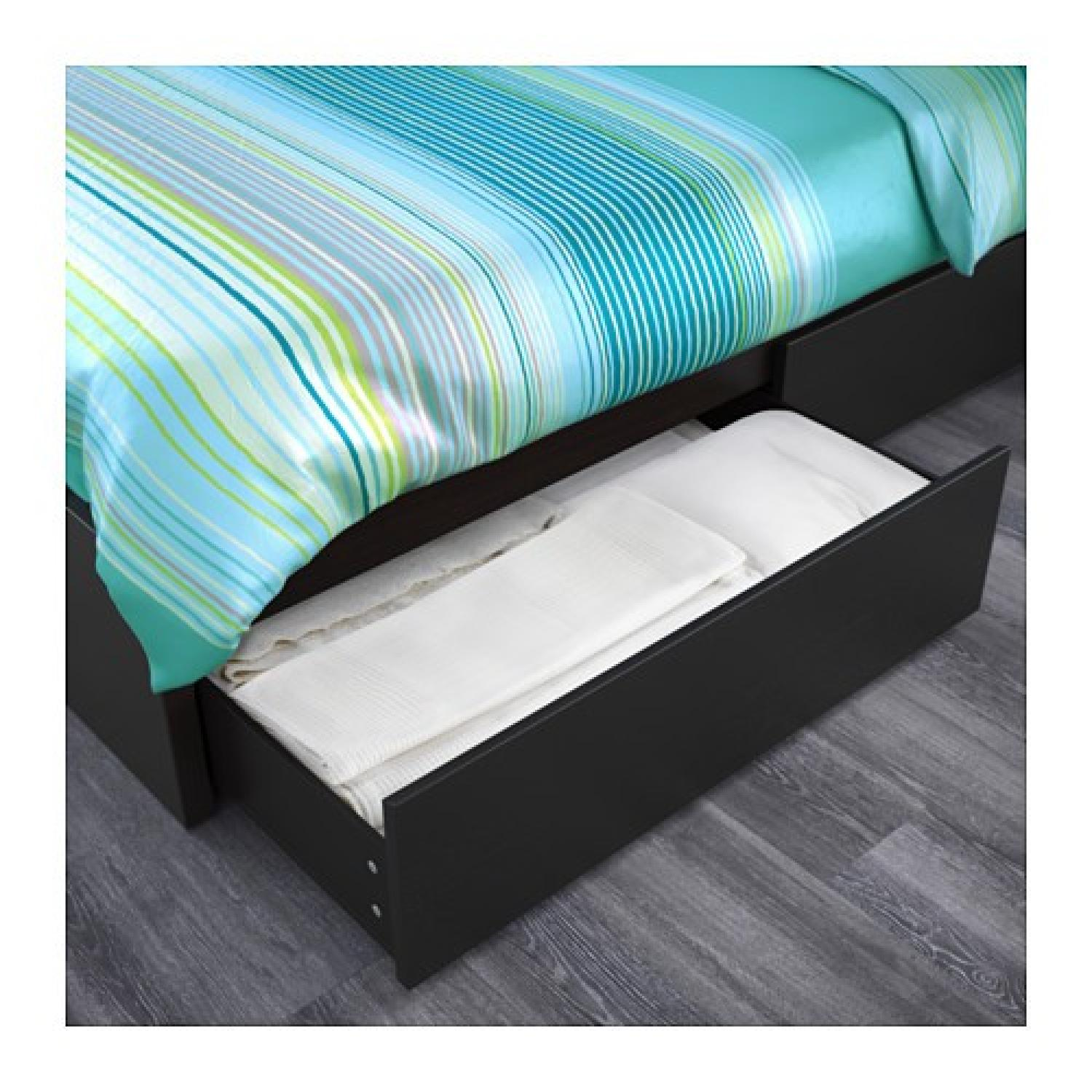 ikea malm queen bed w 4 storage boxes aptdeco. Black Bedroom Furniture Sets. Home Design Ideas