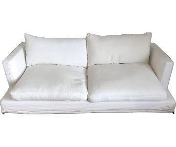 Modern White Fabric Slip Cover Sofa