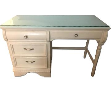 Lexington Wood Desk w/ Custom Glass Top & Chair