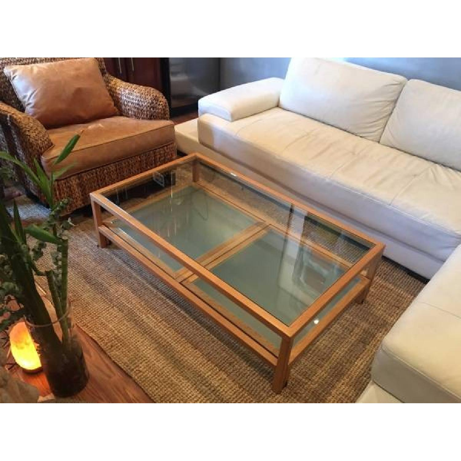 Coffee Table w Sliding Glass Top AptDeco