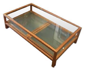 Coffee Table w/ Sliding Glass Top